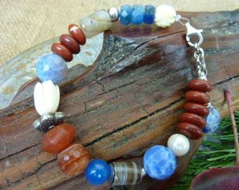 COLD CREEK blue lace agate and jasper sterling Sundance Style stone bracelet