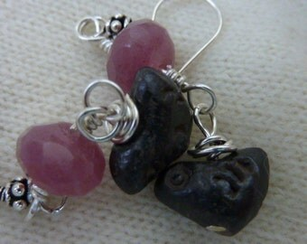 WILD ROSE  Sundance style wire wrapped sterling clay bird  earrings