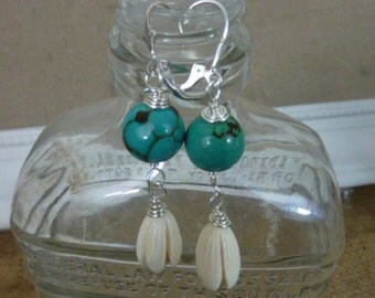 TURQUOISE and CARVED IVORY  Sundance style wire wrapped sterling  earrings