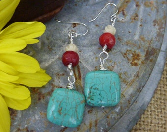 TURQUOISE AND CORAL Sundance style wire wrapped sterling turquoise earrings
