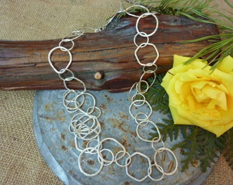 STERLING SILVER Large Link Chain Sundance Style Necklace