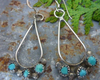 Indian Turquoise and Sterling vintage earrings