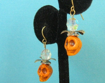 Skull Earrings with Vintage Crystals