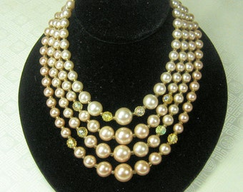Glass Pearl Beaded Necklace 4 Strands