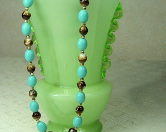 Turquoise and Brown Beaded Necklace signed Napier