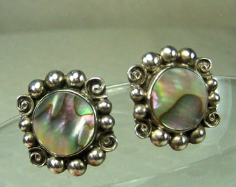 Vintage Sterling Silver and Abalone Earrings