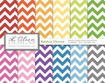 Rainbow Chevron Paper Pack - 12 digital paper patterns - INSTANT DOWNLOAD