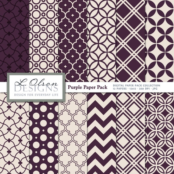 Purple and Creme Paper Pack - 12 digital paper patterns - INSTANT DOWNLOAD