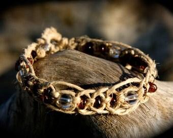 Quartz and Garnet Natural Hemp Macrame Healing Bracelet