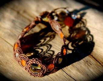 Citrine and Carnelian Crystal Healing Organic Hemp Bracelet