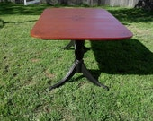 Two-Tone Hand Airbrushed French Chic Dining Table with French Iron Scrolls