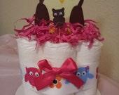 1 Owl girl mini diaper cake