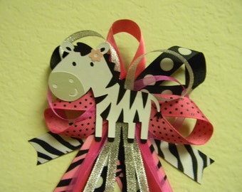 Hot Pink ZEBRA baby shower pin/corsage