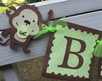 Monkey BABY banner neutral colors
