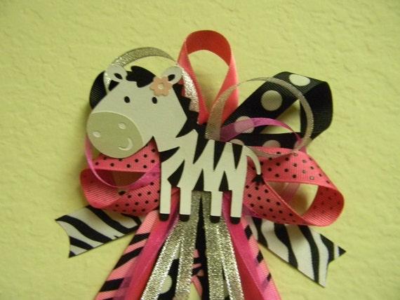 Hot Pink ZEBRA baby shower pin/corsage