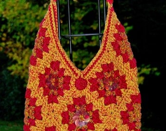"Crochet Granny Square Bag Set with ""Fall Bling"""