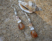 Freshwater Shell & Carnelian Drop Earrings with Sterling Silver accents