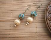 Brass & Turquoise Tibetan Bead Drop Earrings