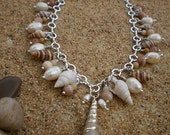 Freshwater Pearl & Sprial Shell Chain Necklace with Moonstone and Amazonite Beads