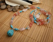 Cherry Quartz, Raw Crystal and Turquoise Pendant Necklace