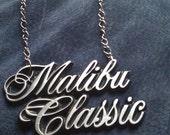 Vintage Repurposed Malibu Classic Emblem Necklace