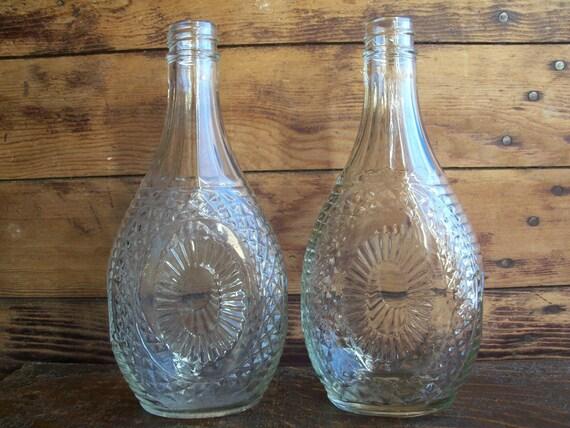 Old Log Cabin Maple Syrup Bottles, Pair (2), Vintage 1950s