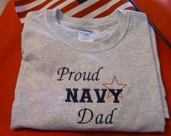 Proud Navy Dad Embroidered T shirt