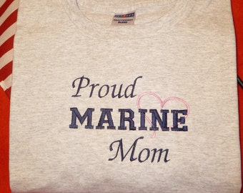 Proud Marine Corps Mom Embroidered T Shirt