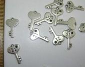 Silver Brass Nickel free Key Charms