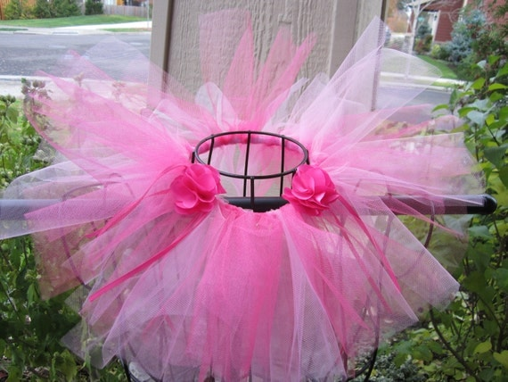 Girls Tutu - Newborn to 2T - Light and Bright Pink w Pink Ribbon and Flowers