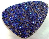 Unique Metallic Blue Drusy Quartz Cabochon for Wire Wrapping, Setting as Jewelry or Collectible 5.6 carats