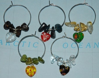 Lovely Hearts - Set of 5 Gemstone Wine Charms, Reiki Charged, Wedding Gift, Hostess Present, Stocking Stuffer, Mother's Day, Made in Alaska