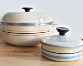 Retro Dutch Oven and Sauce Pan - Regal Ware Camp Cookware - Beige Cast Aluminum Outdoor Kitchenware with Seventies Stripes
