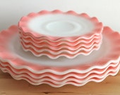 Hazel Atlas Pink Crinoline Dishes - Vintage Rose Colored Ripple Edge Milk Glass Plates (Set of 8)