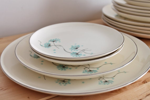 """RESERVED:  Taylor Smith & Taylor """"Blue Lace"""" Turquoise Dishes -  Mid Century Vintage Versatile Dinnerware Set with Aqua Queen Anne's Lace"""