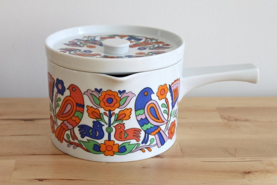 Folk Art Bird Ceramic Pot - Japanese Ceramic Sauce Pan with Red and Blue Scandinavian Distelfink Design