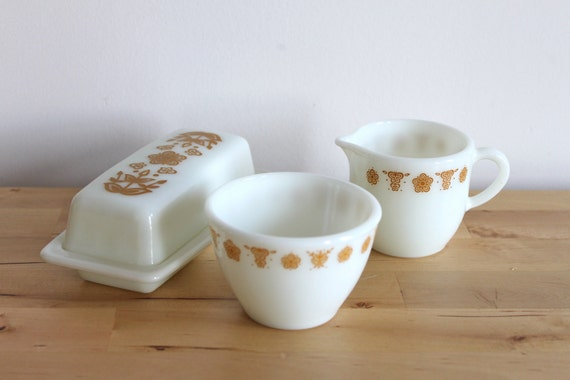 Pyrex Butterfly Gold Butter Dish, Creamer and Sugar Bowl - Retro Milk Glass Tableware from Corning and Pyrex
