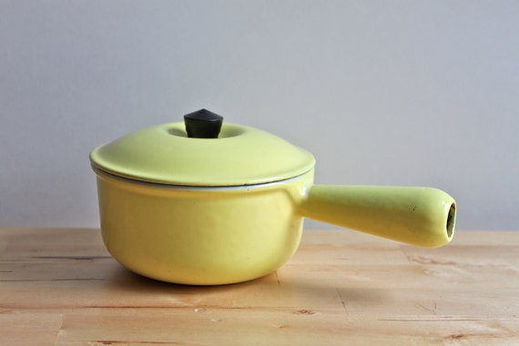 "Le Creuset Sauce Pot - Vintage 1950s ""Elysses Yellow"" Enameled Cast Iron Cookware - Made in France"