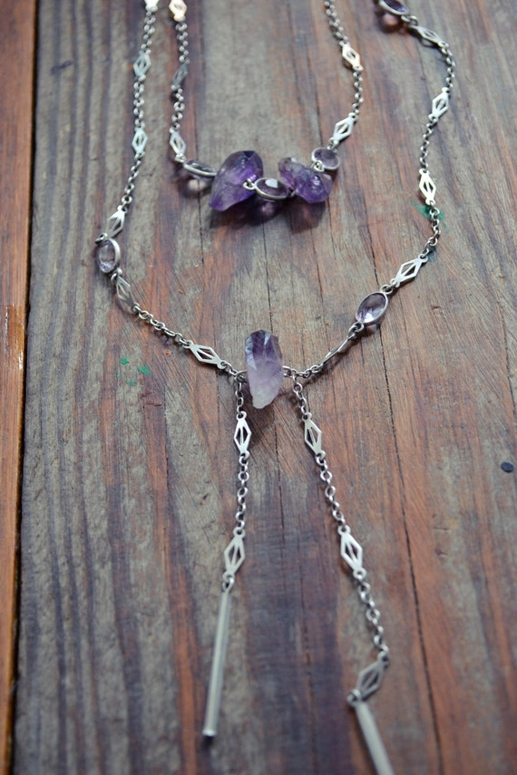 Raw & Polished Energy. Vintage 1920's Silver Chain with Amethyst Gemstone Necklace.