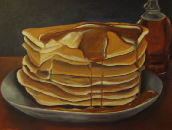 Original Acrylic Painting of a Stack of Pancakes