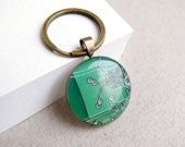 Circuit board geekery key chain Green - recycled computer - gift for men under 15
