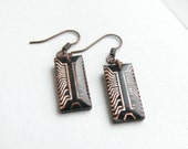 Upcycled geekery earrings with cooper chips e776 ready to ship