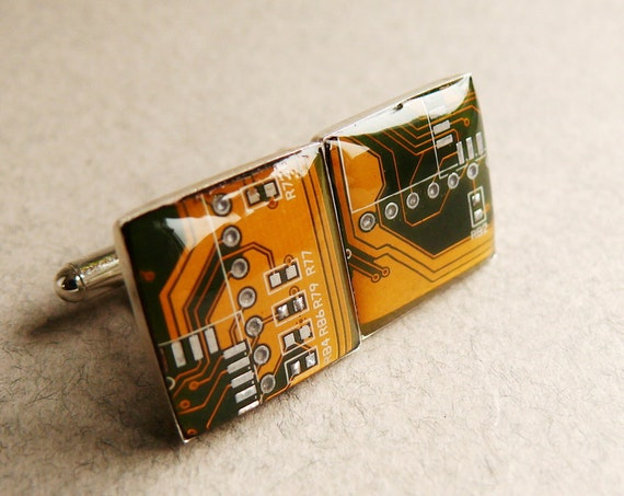 Circuit board Cuff links Geekery golden