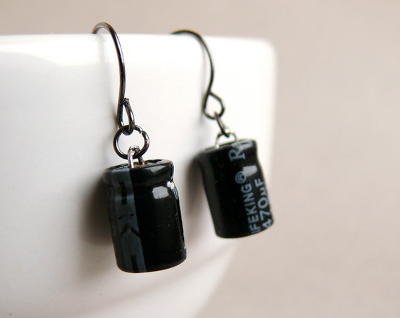 Capacitor geekery earrings - recycled computer