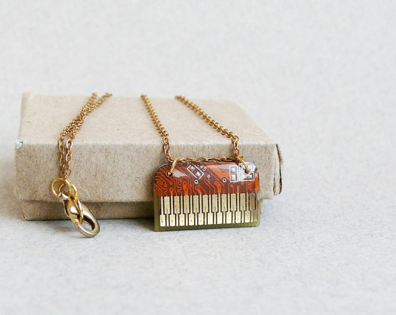 Circuit board geekery necklace RARE Orange - recycled computer projectt