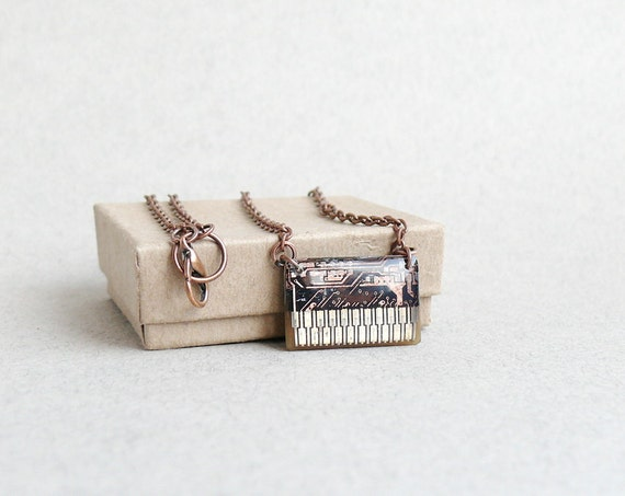 Circuit board geekery necklace Copper on black N141 ready to ship christmasinjuly CIJ
