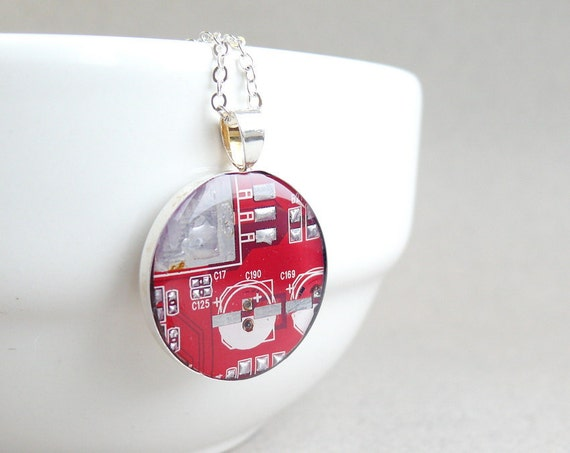 Circuit board geekery necklace Bright Red in silvertone - recycled computer Nscr142