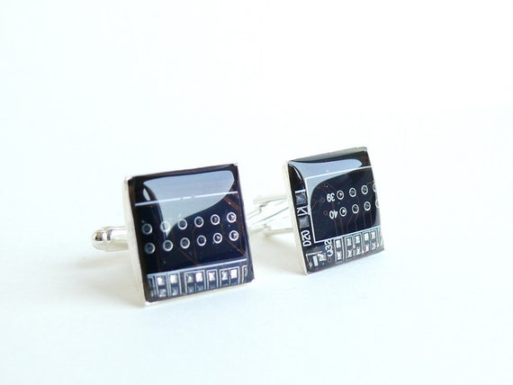 Circuit board Cuff links Geekery Brown Squares recycled computer sbr644