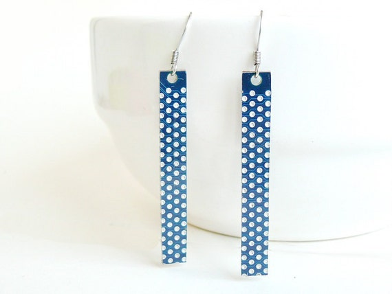 Circuit board geekery earrings Blue with dots - recycled computer eb883 ready to ship