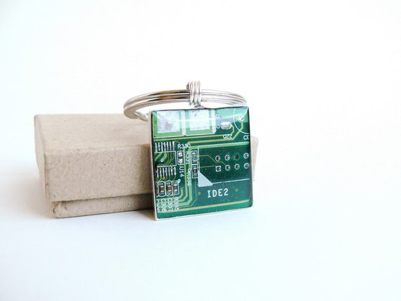 Circuit board geekery keychain Green in silvertone - recycled computer ssg567 ready to ship